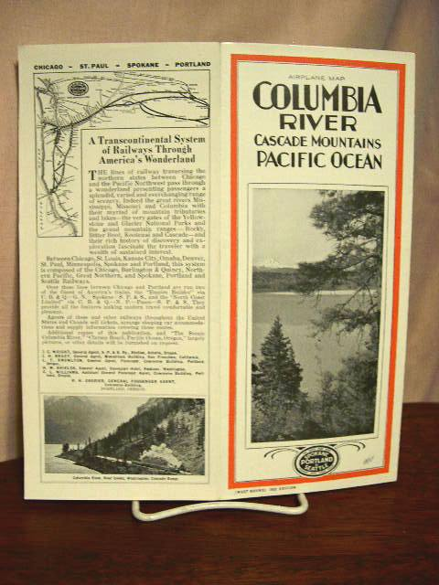 AIRPLANE MAP; COLUMBIA RIVER, CASCADE MOUNTAINS, PACIFIC OCEAN