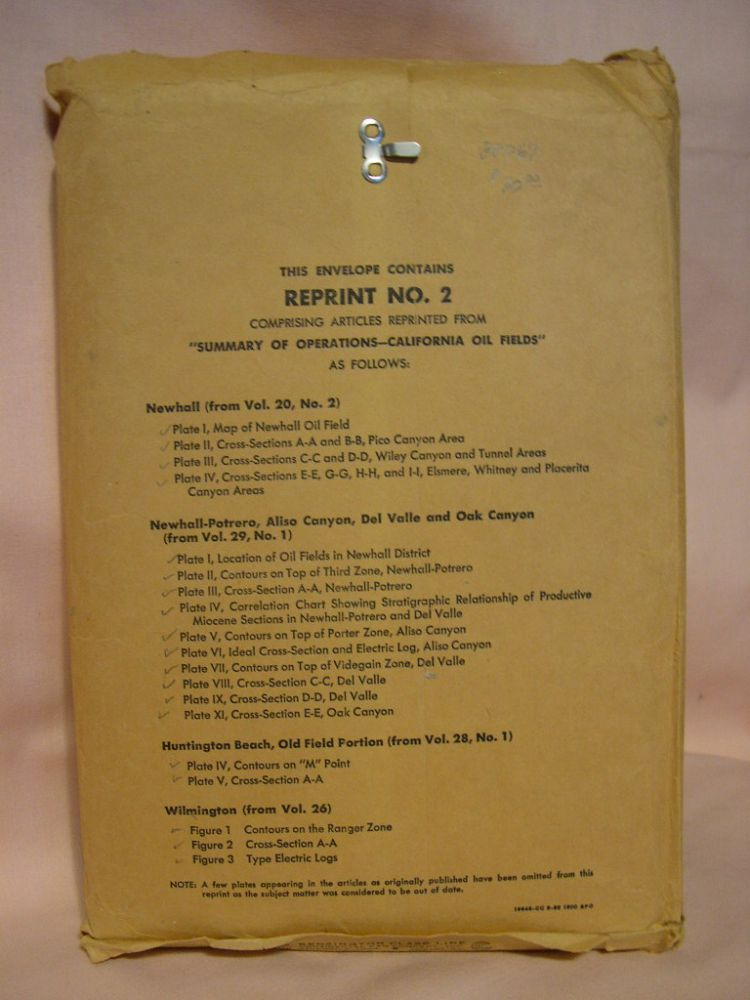 "REPRINT NO. 2. ARTICLES REPRINTED FROM ""SUMMARY OF OPERATIONS CALIFORNIA OIL FIELDS"""