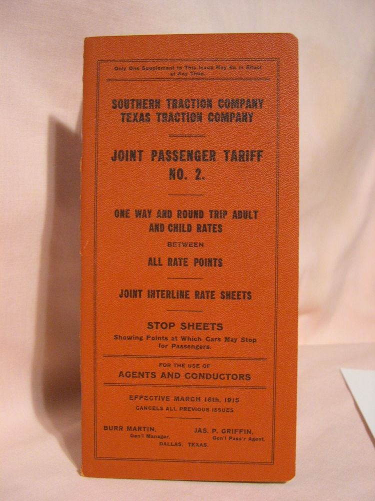 TEXAS ELECTRIC RAILWAY, SUPPLEMENT NO. 1 TO JOINT PASSENGER TARIFF NO. 2. ONE WAY AND ROUND TRIP ADULT AND CHILD RATES BETWEEN ALL RATE POINTS. JOINT INTER-DIVISION AND INTERLINE RATE SHEETS. STOP SHEETS