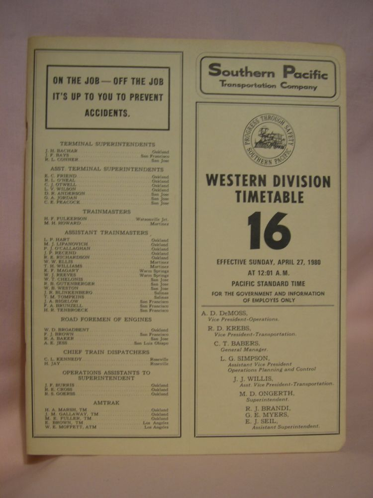 SOUTHERN PACIFIC TRANSPORTATION COMPANY [EMPLOYEE] TIME TABLE; WESTERN DIVISION TIMETABLE 16 [1980]