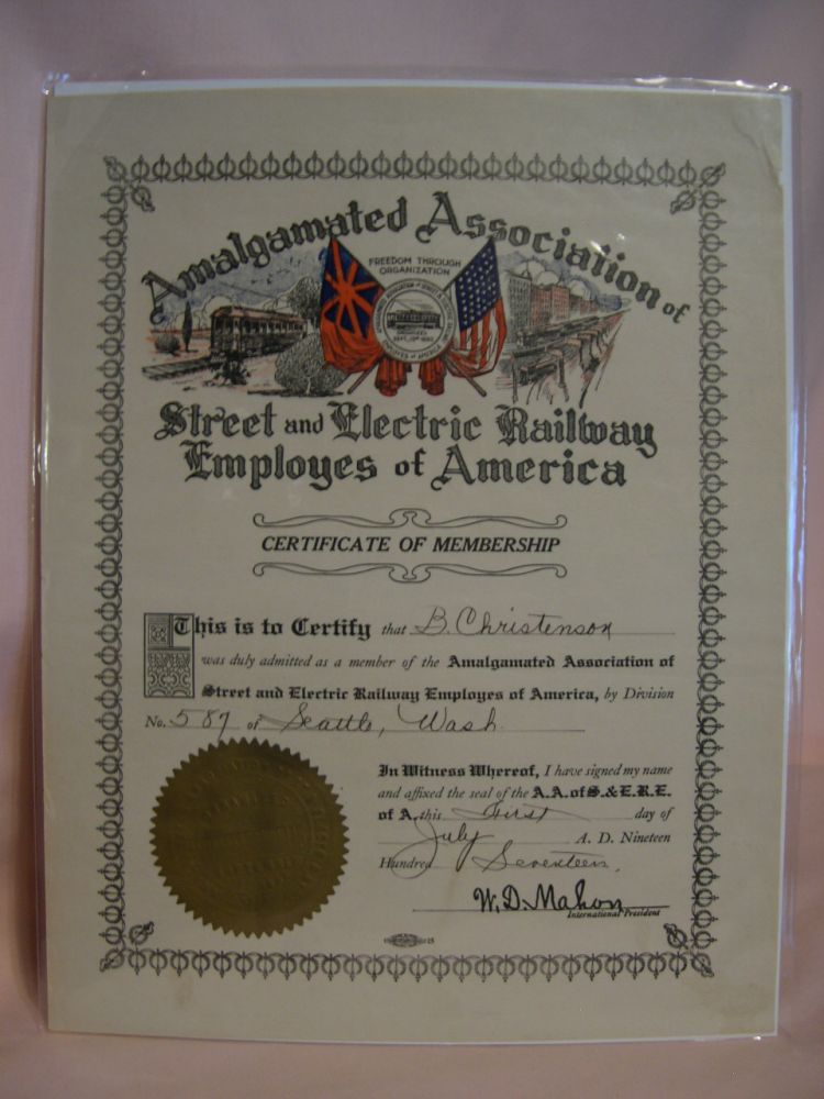 AMALGAMATED ASSOCIATION OF STREE AND ELECTRIC RAILWAY EMPLOYES OF AMERICA; CIRTIFICATE OF MEMBERSHIP, 1917
