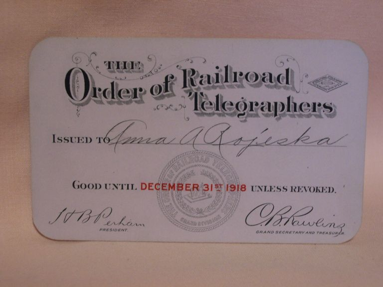 THE ORDER OF RAILROAD TELEGRAPHERS [UNION MEMBERSHIP CARD, 1918]