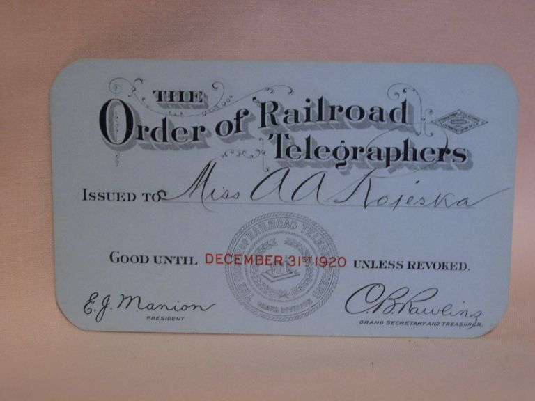 THE ORDER OF RAILROAD TELEGRAPHERS [UNION MEMBERSHIP CARD, 1920]