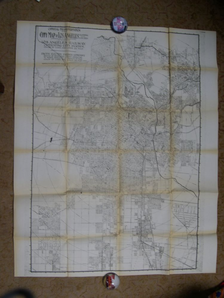 OFFICIAL TRANSPORTAION AND CITY MAP OF LOS ANGELES CALIFORNIA AND SUBURBS (COPYRIGHT 1911, BY LAURA L. WHITLOCK) FOR LOS ANGELES RY.
