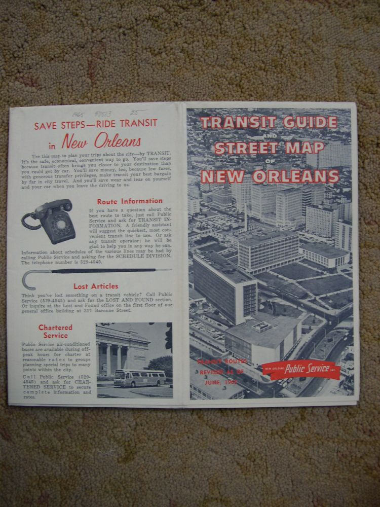 TRANSIT GUIDE & CITY MAP OF NEW ORLEANS [1965]