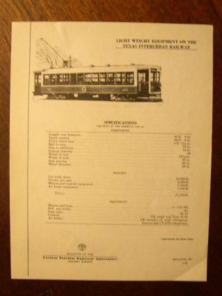C.E.R.A. BULLETIN 10, LIGHT WEIGHT EQUIPMENT ON THE TEXAS INTERURBAN RAILWAY DATA SHEET