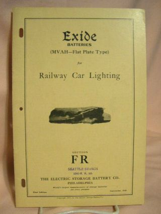 EXIDE BATTERIES (MVAH - FLAT PLATE TYPE) FOR RAILWAY CAR LIGHTING; SECTION FR