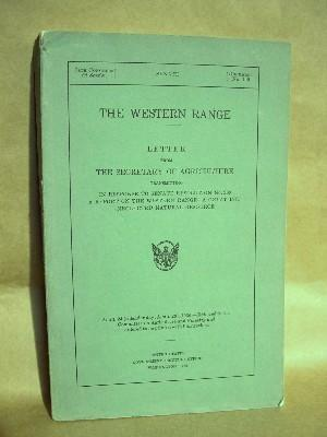 THE WESTERN RANGE: LETTER FROM THE SECRETARY OF AGRICULTURE TRASMITTING IN RESPONSE TO SENATE...