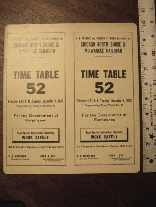 CHICAGO, NORTH SHORE AND MILWAUKEE RAILROAD COMPANY [EMPLOYEE] TIME TABLE NO. 52