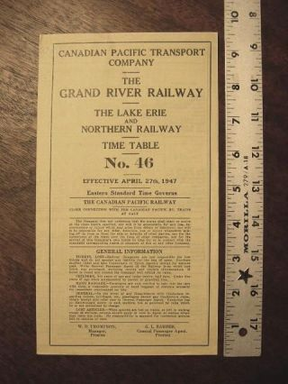 CANADIAN PACIFIC TRANSPORT COMPANY - THE GRAND RIVER RAILWAY - THE LAKE ERIE AND NORTHERN RAILWAY...
