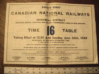 CANADIAN NATIONAL RAILWAYS, CENTRAL REGION, MONTREAL DISTRICT [EMPLOYEE] TIME TABLE 16