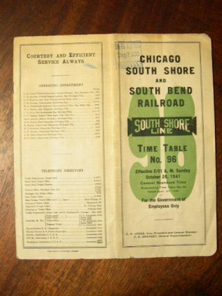 CHICAGO SOUTH SHORE AND SOUTH BEND RAILROAD COMPANY [EMPLOYEE] TIME TABLE NO. 101