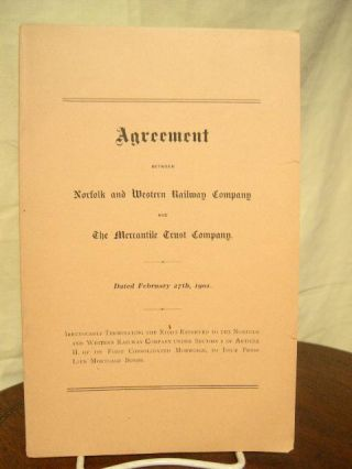 AGREEMENT BETWEEN NORFOLK AND WESTERN RAILWAY COMPANY AND THE MERCANTILE TRUST COMPANY. DATED...