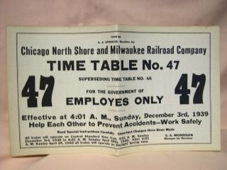 CHICAGO, NORTH SHORE AND MILWAUKEE RAILROAD COMPANY [EMPLOYEE] TIME TABLE NO. 47