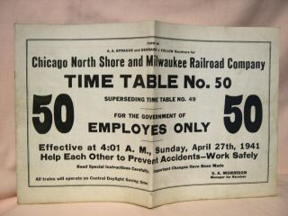 CHICAGO, NORTH SHORE AND MILWAUKEE RAILROAD COMPANY [EMPLOYEE] TIME TABLE NO. 50