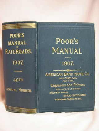 POOR'S MANUAL OF THE RAILROADS OF THE UNITED STATES, 1907