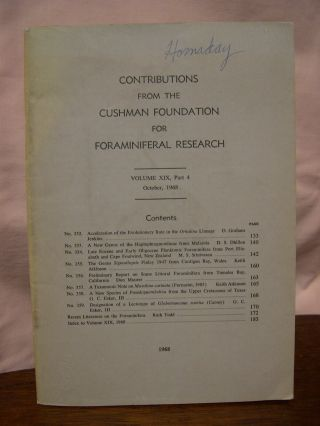 CONTRIBUTIONS FROM THE CUSHMAN FOUNDATION FOR FORAMINIFERAL RESEARCH, VOLUME XIX, PART 4,...