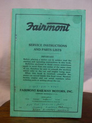 FAIRMONT SERVICE INSTRUCTIONS AND PARTS LIST, M19 SERIES E INSPECTION CARS, ISSUED DECEMBER 1949,...