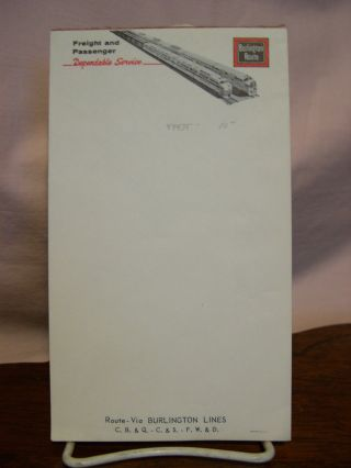 BURLINGTON ROUTE, FREIGHT AND PASSENGER DEPENDABLE SERVICE [NOTEPAD, STATIONERY
