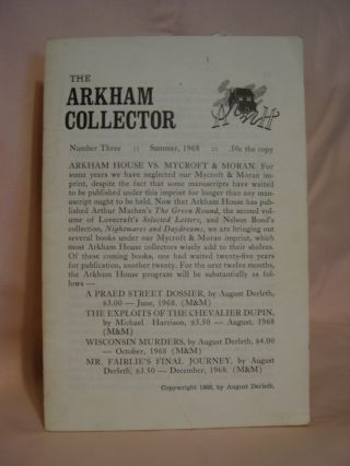 THE ARKHAM COLLECTOR: NUMBER THREE, SUMMER, 1968. August Derleth