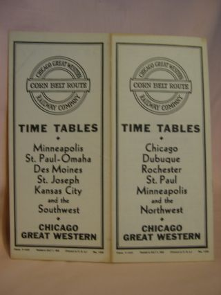 CHICAGO GREAT WESTERN RAILWAY COMPANY; CORN BELT ROUTE; [PASSENGER] TIME TABLES; MINNEAPOLIS, ST....