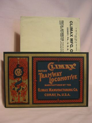 "ILLUSTRATED CATALOGUE OF THE ""CLIMAX"" PATENTED TRAMWAY LOCOMOTIVE"
