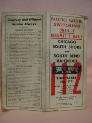 CHICAGO SOUTH SHORE AND SOUTH BEND RAILROAD COMPANY [EMPLOYEE] TIME TABLE NO. 112