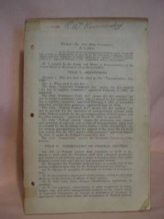 TRANSPORTATION ACT, 1920. PUBLIC DOCUMENT NO. 152, 66th CONGRESS [H.R. 10453