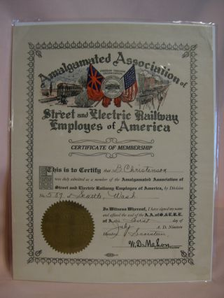 AMALGAMATED ASSOCIATION OF STREE AND ELECTRIC RAILWAY EMPLOYES OF AMERICA; CIRTIFICATE OF...