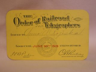 THE ORDER OF RAILROAD TELEGRAPHERS [UNION MEMBERSHIP CARD, 1919