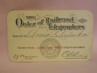 THE ORDER OF RAILROAD TELEGRAPHERS [UNION MEMBERSHIP CARD, 1920