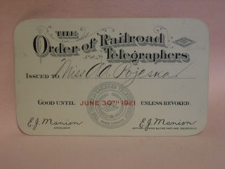 THE ORDER OF RAILROAD TELEGRAPHERS [UNION MEMBERSHIP CARD, 1921