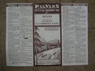 PULVERS OFFICIAL HIGHWAY MAP OF OREGON WITH LIST OF TOURIST ACCOMMODATIONS