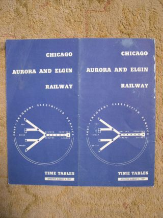 CHICAGO, AURORA AND ELGIN RAILROAD [PASSENGER] TIME TABLES, EFFECTIVE AUGUST 3, 1947