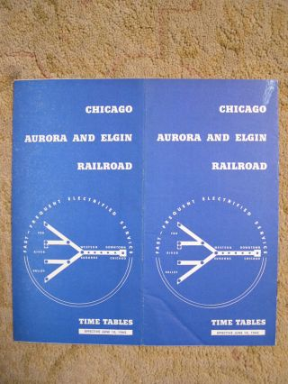 CHICAGO, AURORA AND ELGIN RAILROAD [PASSENGER] TIME TABLES, EFFECTIVE JUNE 10, 1945