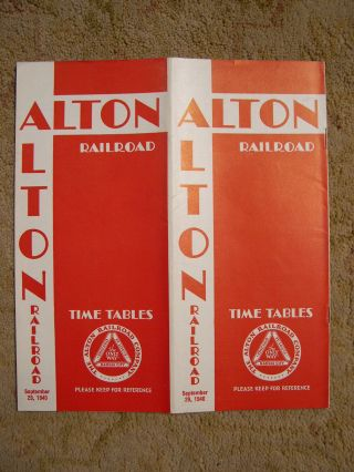ALTON RAILROAD [PASSENGER] TIME TABLES; SEPTEMBER 29, 1940