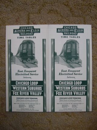 CHICAGO, AURORA AND ELGIN RAILROAD [PASSENGER] TIME TABLES: FAST, FREQUENT ELECTRIFIED SERVICE...